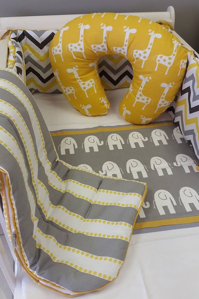 A great combination of #Grey and #Yellow in our #ElephantTheme for a #NeutralNursery, perfect for a #BabyBoy or a #BabyGirl!  #BabyBedding #BabyLinen