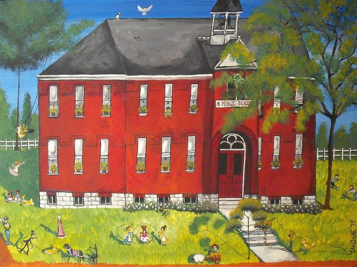 School Painting - Sunny-day Recess At Westport Public School by Christine Janeway