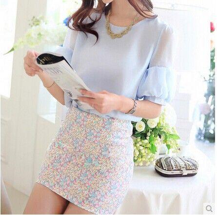 verano de moda las mujeres conjunto ropa camisa de gasa falda apretada y conjuntos de blusa de las señoras blusas camisas de mujer trajes