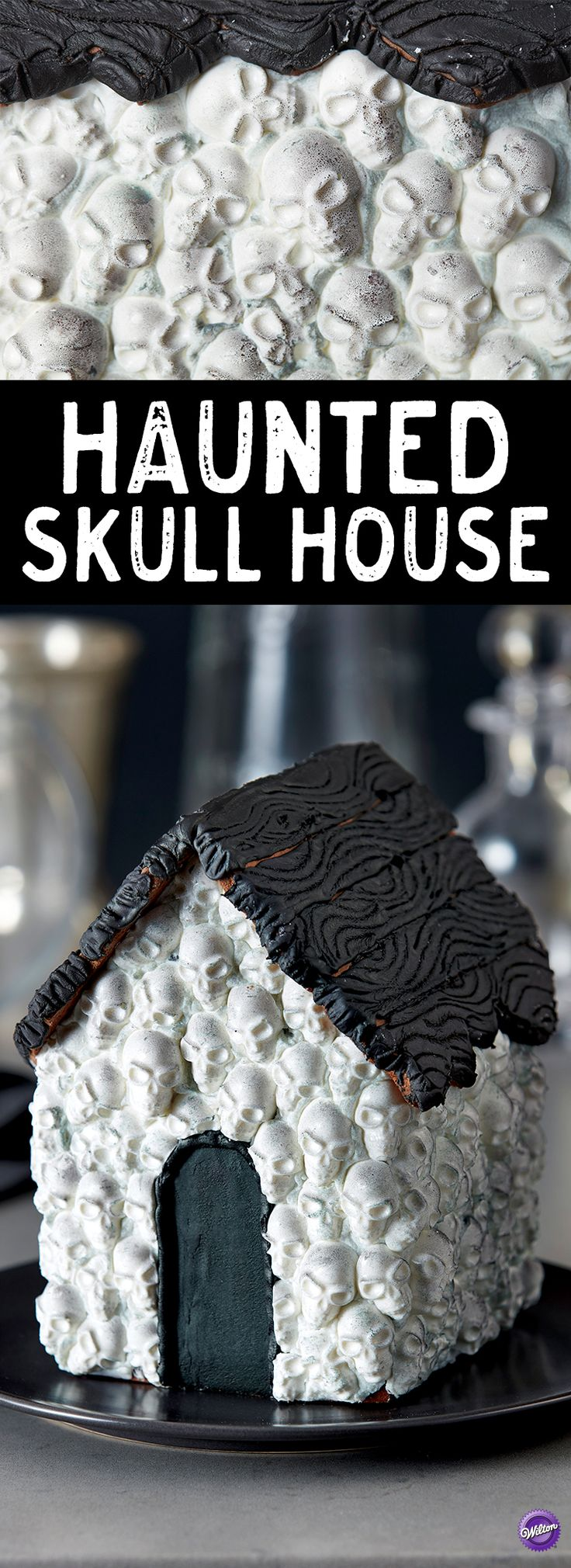 Haunted Skull House - This spooky gingerbread house covered in skulls made from Wilton Candy Melts® candy is sure to be the talk of the party! Create and display to show your Halloween spirit, or use as a centerpiece for any spooky gathering or Halloween party!
