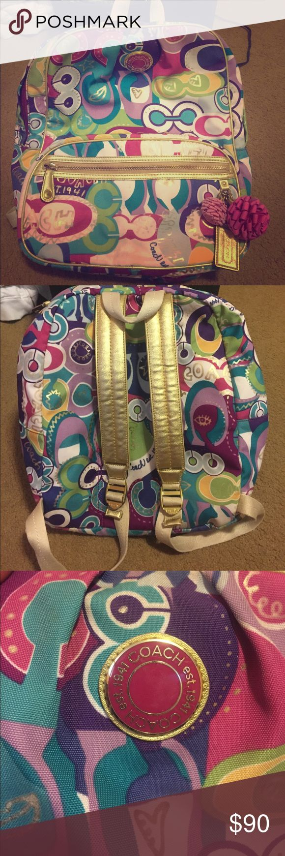 """Coach Poppy Backpack Super cute Coach backpack! It's a little worn but still in good condition! One of the zippers broke off and I never got around to getting it fixed (one zipper worked just fine for me), but I left the pieces in the front pocket in case you want to fix it. Care card is in inside pocket as well. The last picture is with my 16"""" laptop inside of it to give you an idea of how big it is. Coach Bags Backpacks"""