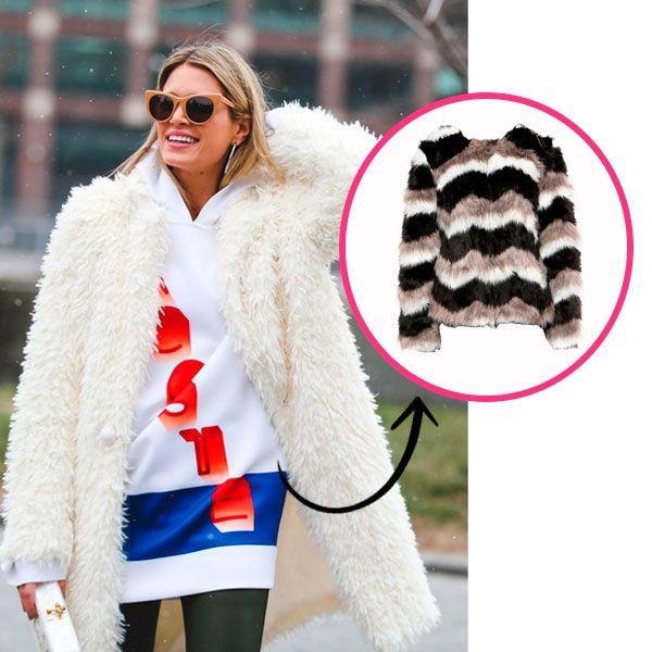 Helena Bordon em street style look de inverno com casaco peludo volumoso branco mais óculos marrom modelo gatinho