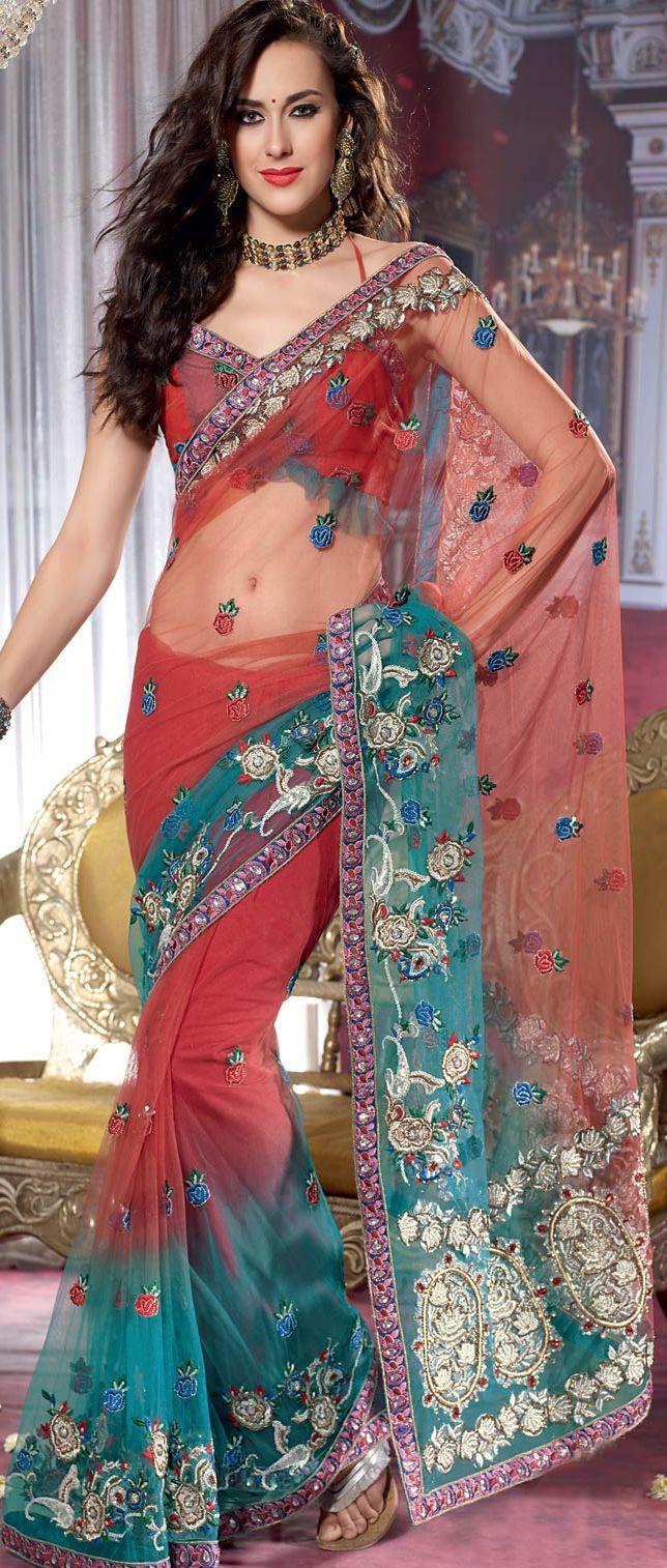Red and Sea Green Net #Saree with Blouse @ $153.41