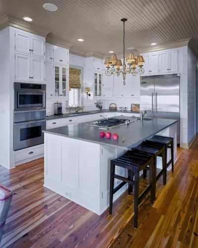 love this layout double ovens sink stove top on island all within reach wide bar on opposite. Black Bedroom Furniture Sets. Home Design Ideas