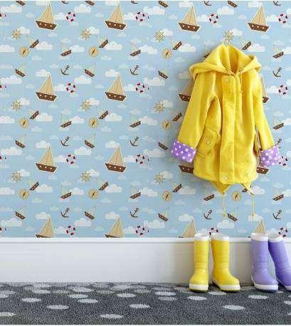 Papel de parede para quarto infantil, bebê com desenhos debarco, ancora, boia, etc... Estilo marinheiro Informações básicas Produto de fácil...