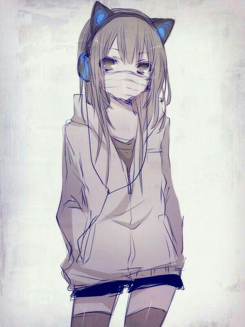 絵 女子 マスク