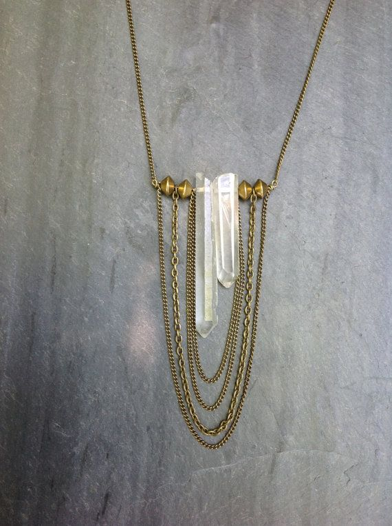 Raw Quartz Crystal Asymmetrical Necklace with Layered Brass Chain and Brass Bead Detailing - boho chic, high fashion, cascade necklace