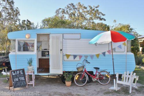 Vintage Retro Caravan RV Trailer 19ft Viscount Chic Weekender Site Van Beach Surf Garden Cubby for sale on ebay. #she shed