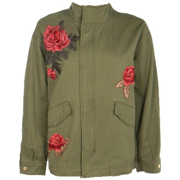 Boohoo Elizabeth Boutique Rose Embroidered Military Jacket (€66) ❤ liked on Polyvore featuring outerwear, jackets, green military jackets, army jacket, green jacket, longline bomber jacket and army bomber jacket