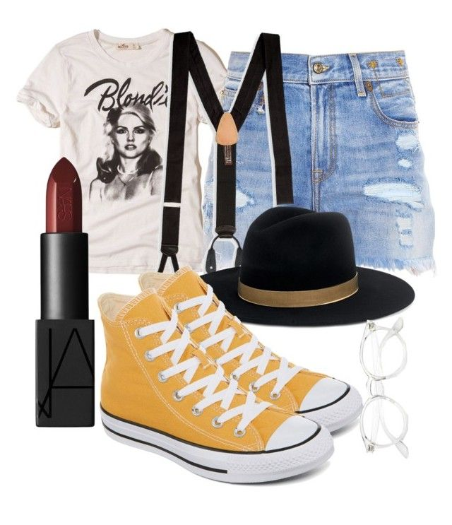 """art club president/animal rights activist"" by marshay-horne on Polyvore featuring Hollister Co., R13, Trafalgar, Janessa Leone, NARS Cosmetics and Converse"