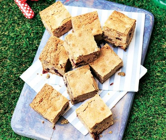 Blondies with pecans and cranberries