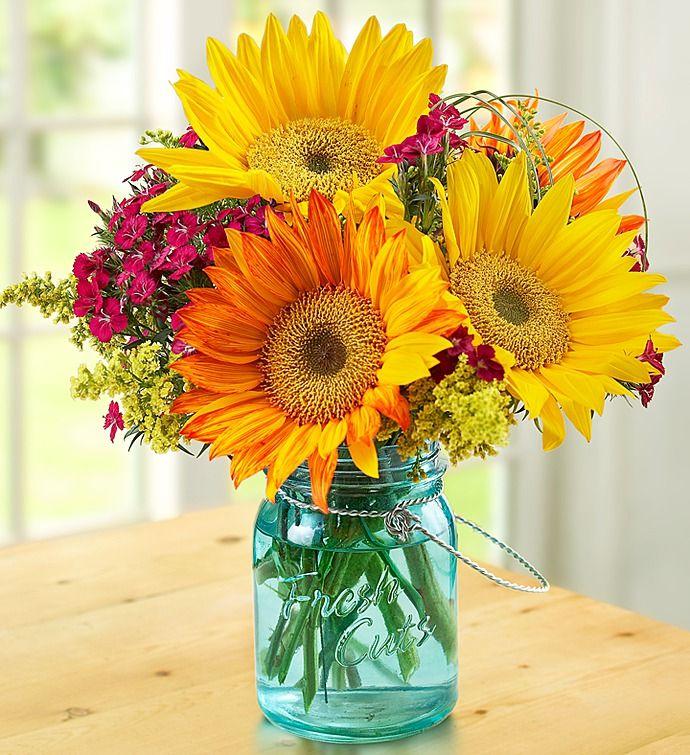 Warm Sunset Bouquet Mason jar flowers, Flower