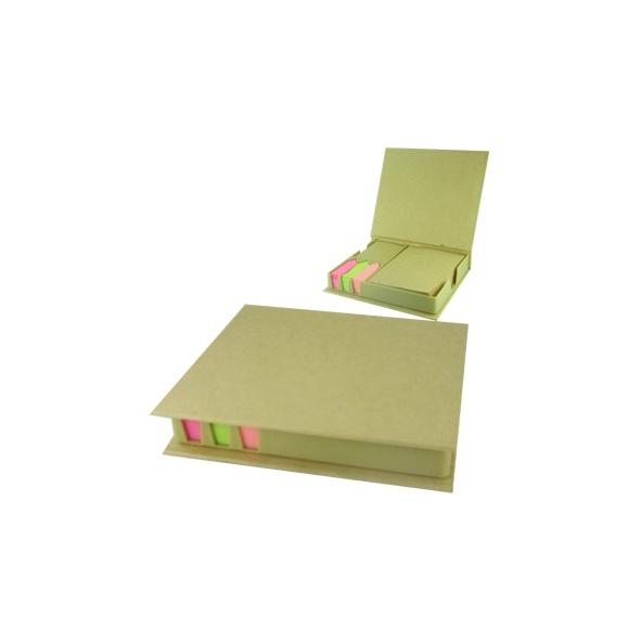 COD.EC028 Taco ecológico , incluye post it de colores y taco de papel reciclado.