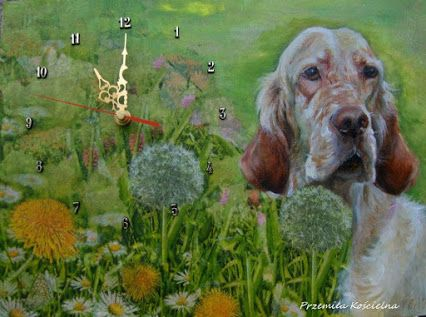 English setter potrait. Mixed media. Painted clock by Canis Art Studio – Google+  #dog #englishsetter #art #painting #mixdmedia #petportraits #clock #animalart #home #decor #design #canisartstudio