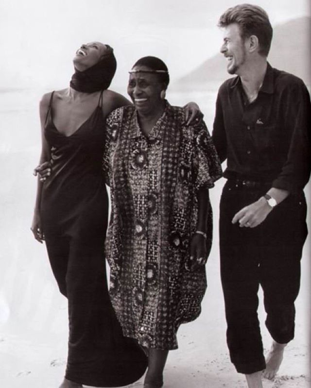 Iman, Miriam Makeba and David Bowie in South Africa, 1995. (Photo: Bruce Weber for Vogue)
