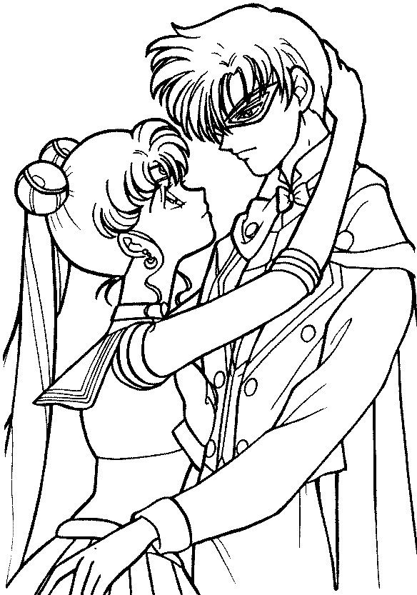 Sailor Moon And Tuxedo Mask Coloring Page