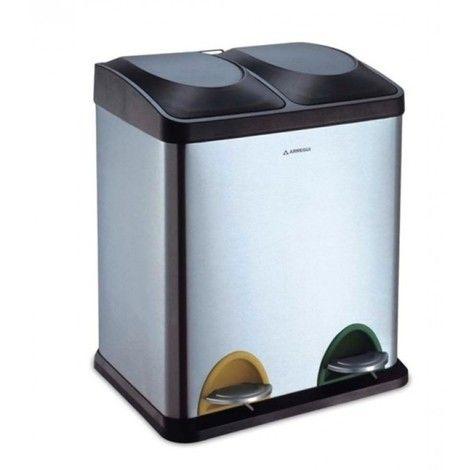 Cubo basura inox reciclaje 2 compartimentos 30lt - CR705-30L - Cocinas