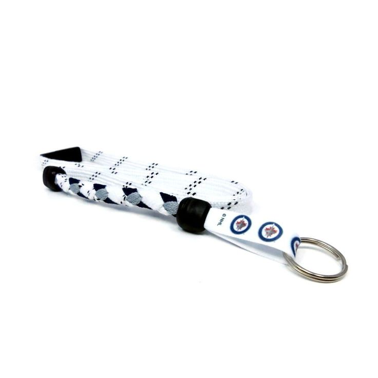 Winnipeg Jets braided hockey lace lanyard. Braided with actual hockey skate lace and team colors. Made with a high detail logo team logo tag.