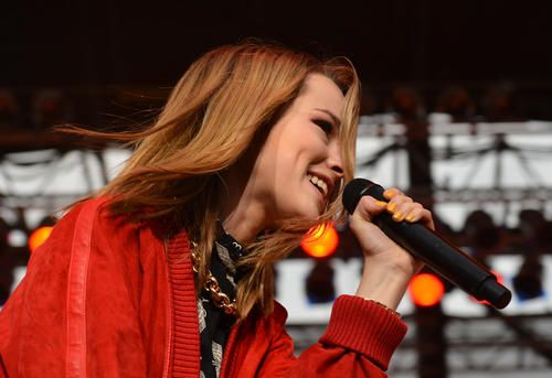 Bridgit Mendler and her band perform at Allentown Fair grandstand during The Great Allentown Fair on August 28, 2013...