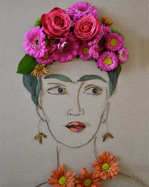 """Frida made completely of flowers and twigs! """"Frida"""" Flower Face Print"""