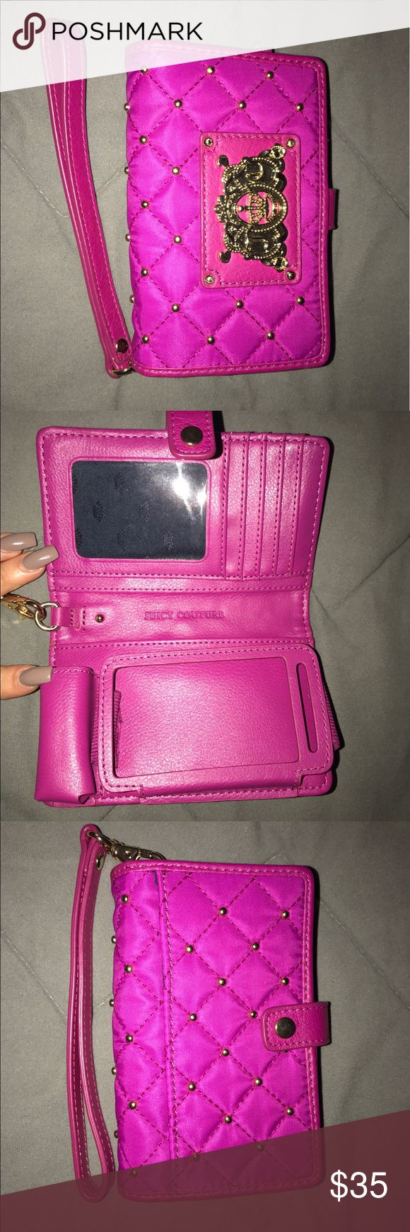 Juicy Couture iPhone 4/4s Wallet Case Pink wallet & iPhone case. Fits an iPhone 4/4s. Room for a lipstick or chap stick inside, along with 4 card slot & an ID. Juicy Couture Accessories Phone Cases