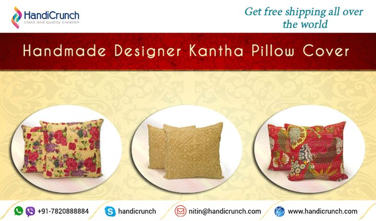 Give unique look to your living room style with  ‪#‎KanthaWork‬ cushion or ‪#‎PatchWork‬ Cushion