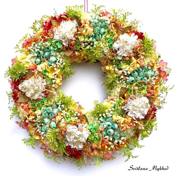 """Couronne décorative """"Amélie"""". Couronne porte d'entrée. Déco fete, maison : Accessoires de maison par perles-et-couronnes"""