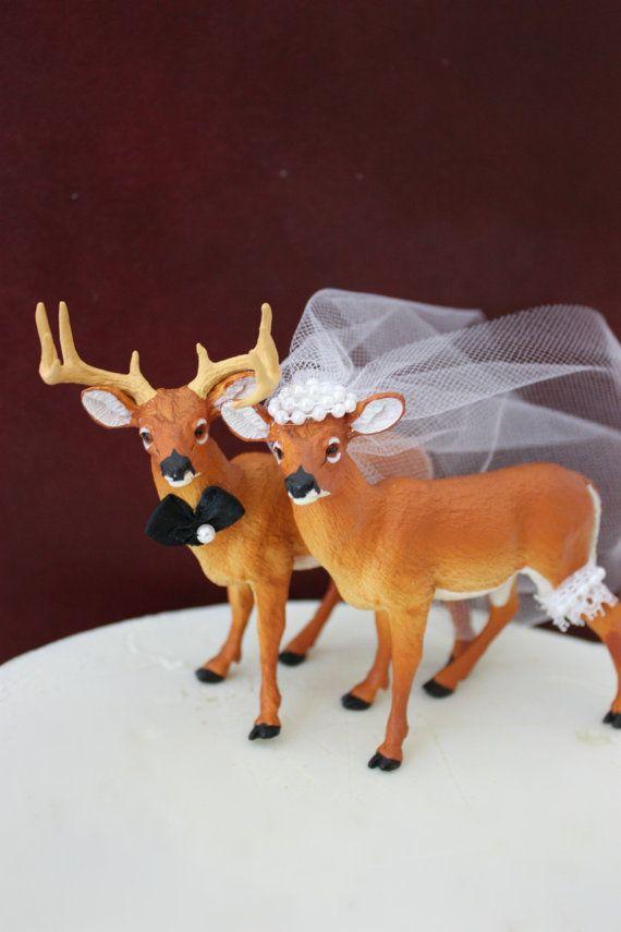 Deer wedding cake topper-Hunting wedding cake topper-Deer bride and groom-Hunting-Buck-Wedding Cake Topper