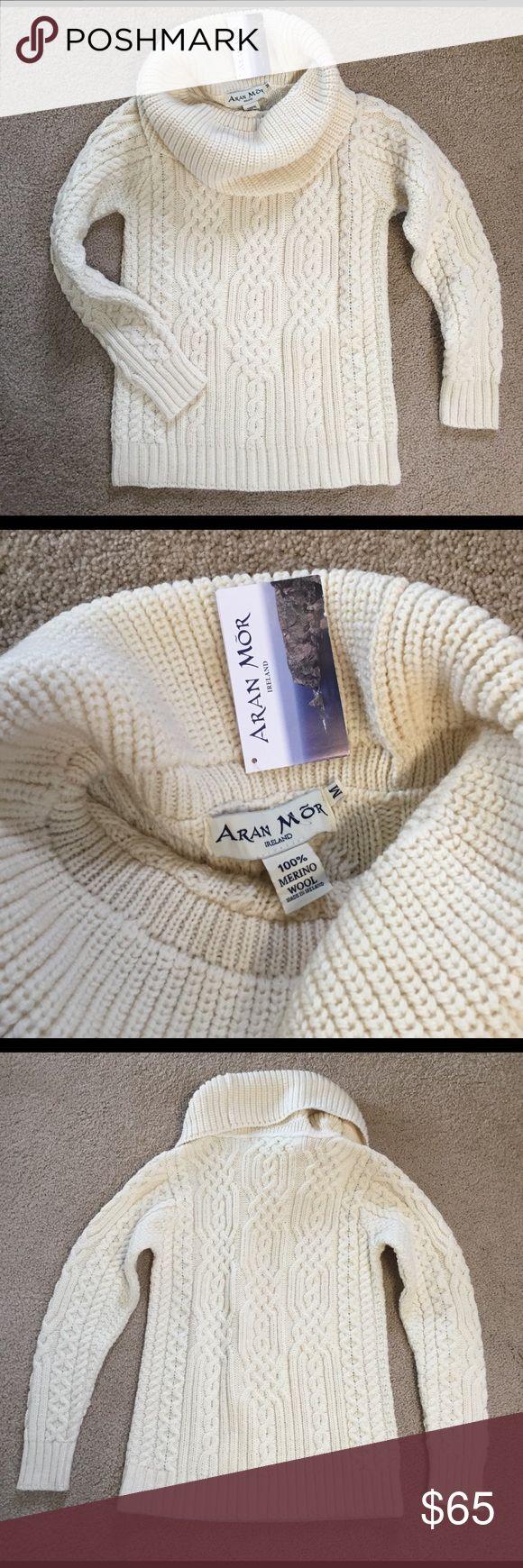 Aran Irish Sweater Aran Irish cowl neck sweater.  Great condition!  Never worn.  Comes from smoke and pet free home. Aran Mor Sweaters