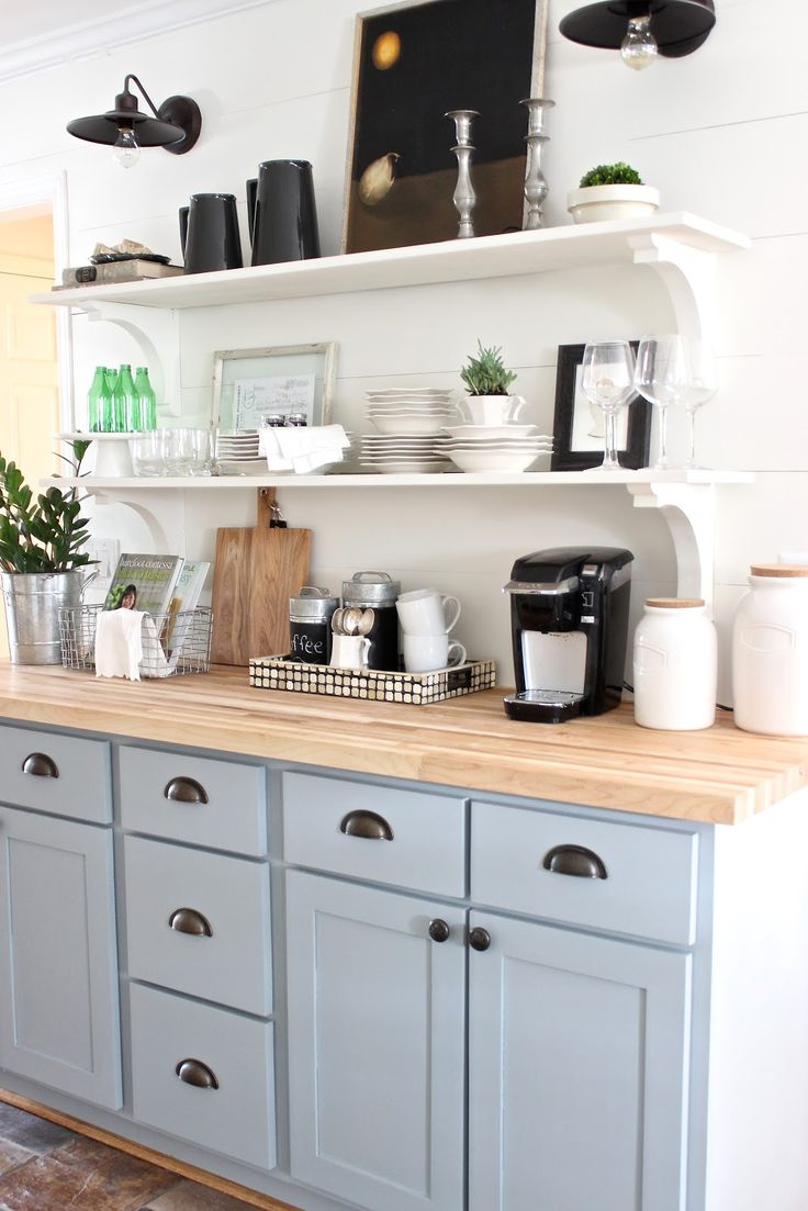design indulgence: ONE ROOM CHALLENGE REVEAL-like this for our kitchen command center, open shelving, lights, and a desk underneath.