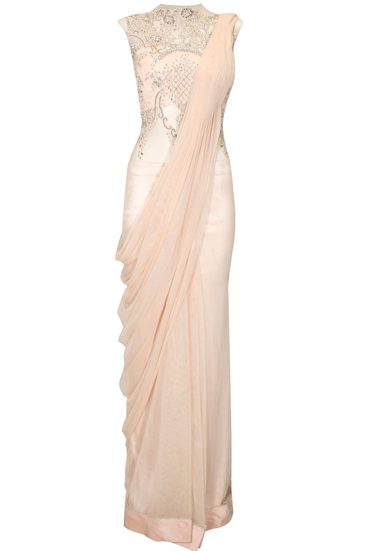Light pink lace embroidered stitched sari gown by Gaurav Gupta. Shop at: http://www.perniaspopupshop.com/designers/gaurav-gupta. #shopnow #perniaspopupshop #gauravgupta