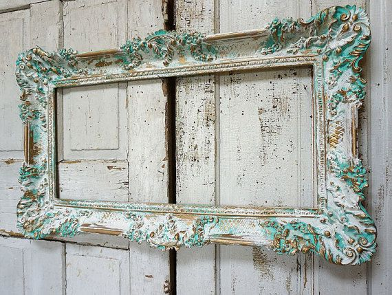 Aqua picture frame wall hanging distressed beachy light turquoise white display…