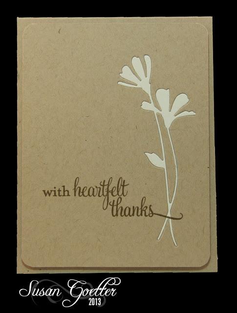 handmade card ... kraft ... embedded die cut flowers ... less is more ... beautiful!!