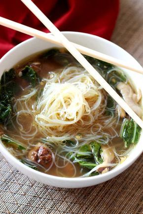 This authentic Chinese Chicken Noodle Soup contains fresh ginger, garlic, mushrooms and Bok Choy. The Mei Fun noodles give this soup an international flair!