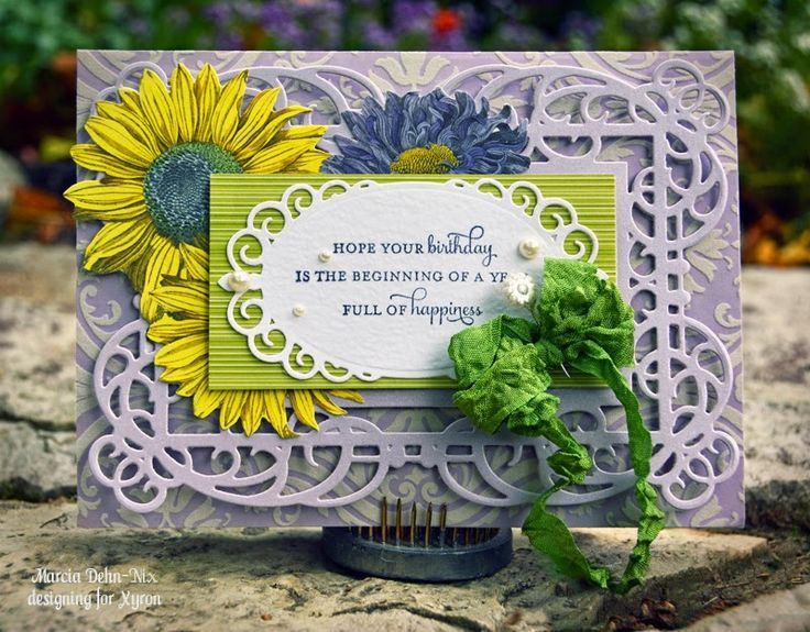 Birthday Card - Xyron and Spellbinders Mystical Embrace dies and Anna Griffin papers