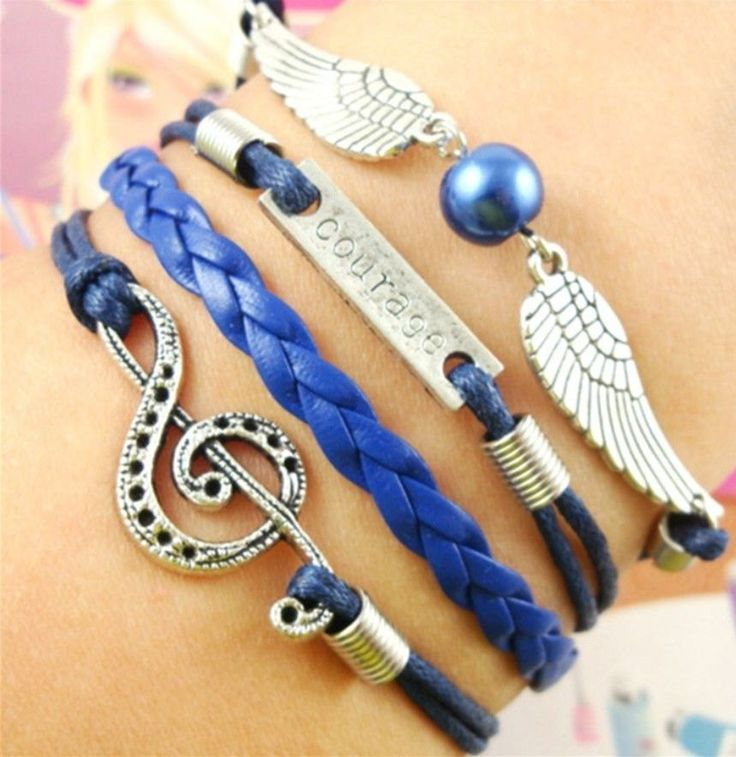 Friendship Bracelet Courage Pearl Wings Music Note Navy Blue Leather Charm Bracelet Silver Free Shipping by Chasingdreams97 on Etsy