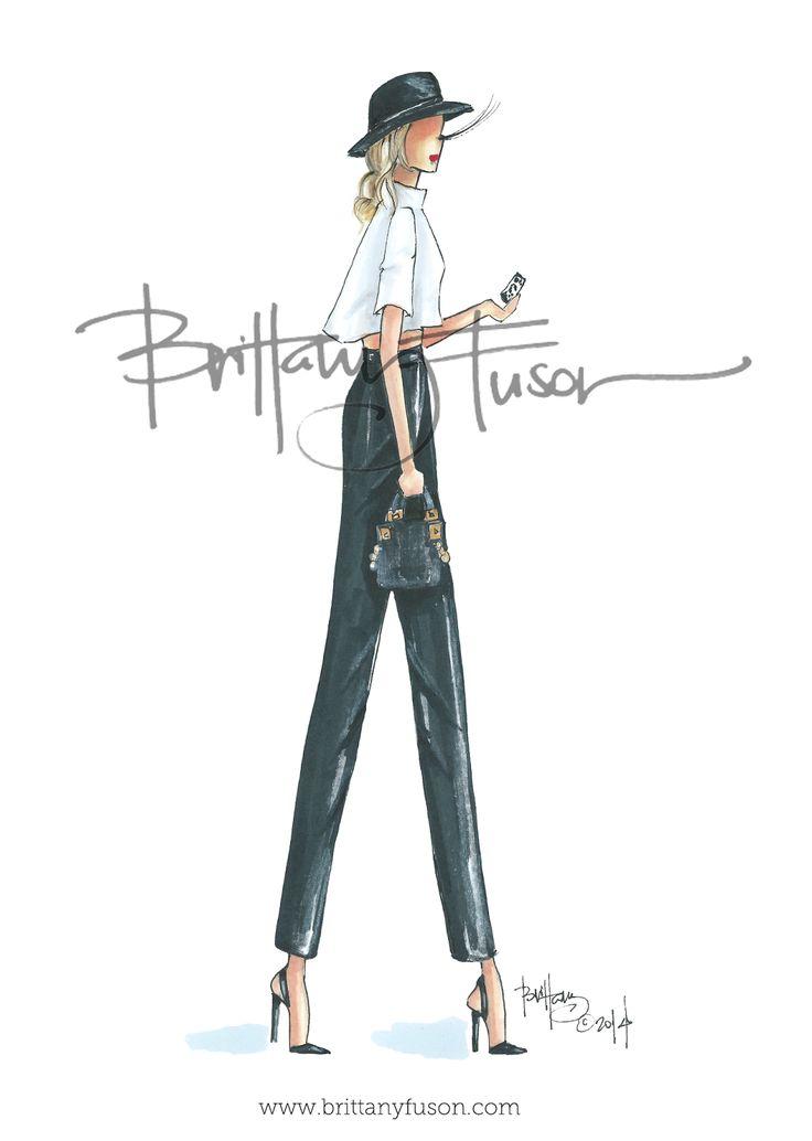 Brittany Fuson // Grey Walking // wide-leg trousers // www.brittanyfuson.com #fashion #illustration