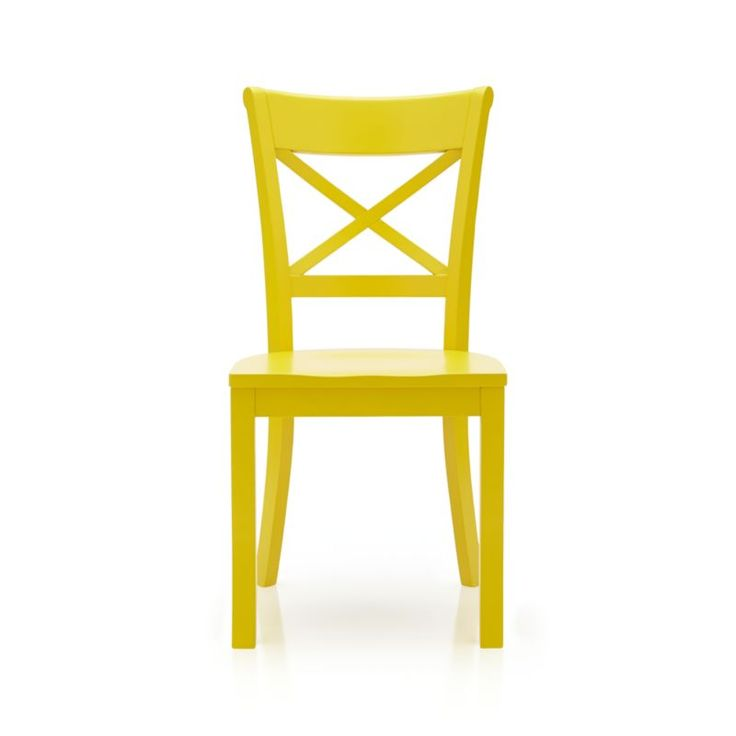 """Vintner's contoured """"X"""" back and comfortable, carved seat support you in all the right places.  Crafted of solid wood with a painted finish in sunny yellow."""