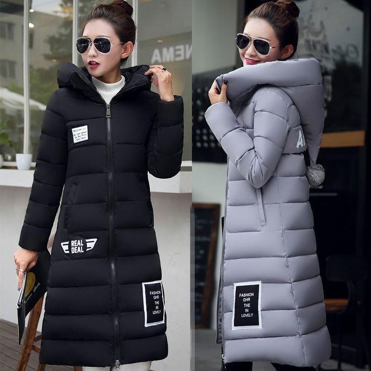 Wadded Coat Female 2016 New Women's Winter Jacket Down Cotton Jacket Slim Parkas Ladies Long Coats Hooded Jacket Femme Outerwear