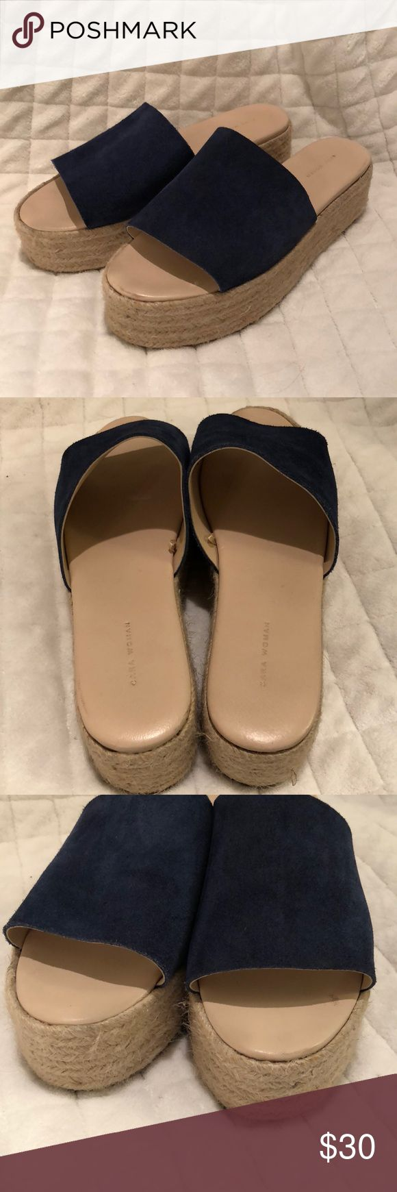 Zara Navy Espadrilles size 38 Zara navy suede espadrilles slip on sandals.  These are size 38, but the suede part seems to fit like a US 8.5-9 women's.  Please see pics for the lite wear they show, even on bottoms.   In very good, litely used condition. Zara Shoes Espadrilles