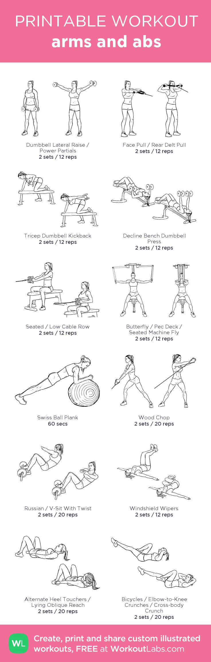 arms and abs:my visual workout created at WorkoutLabs.com • Click through to customize and download as a FREE PDF! #customworkout