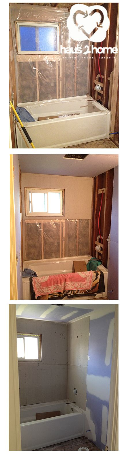 How to put your bathroom back together after ripping it apart! A step by step on how to do a DIY install water/moisture resistant walls and floors. Easy to understand description with photos of this bathroom redo! @haus2home