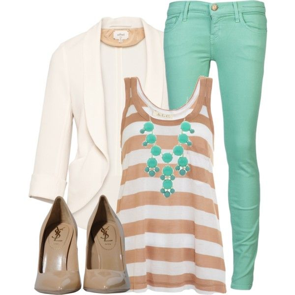 mint skinny jeans outfit | Casual Outfits | Mint Jeans | Fashionista Trends: Mint Pants, Fashion, White Blazers, Color Combos, Cuteoutfit, Mint Jeans, Work Outfit, Cute Outfit, Spring Outfit
