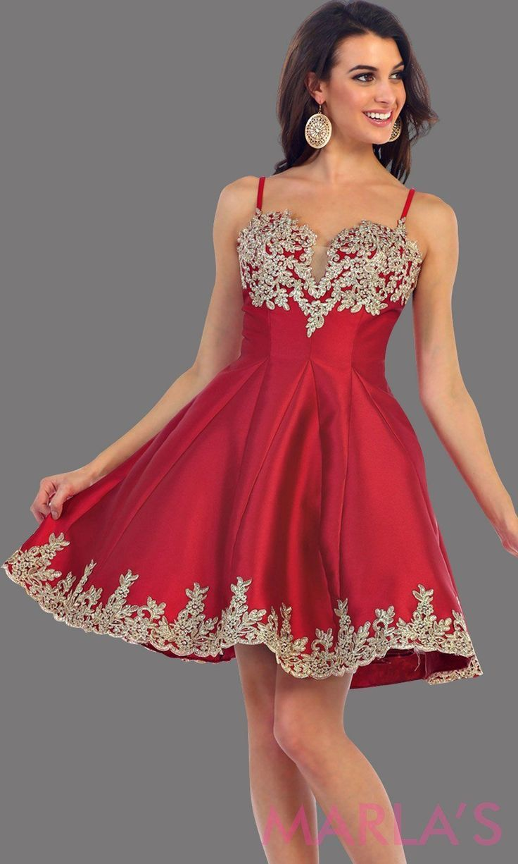 26926d01585 1445-Short satin burgundy grade 8 graduation dress with gold lace detail  and straps. This dress features pockets. Perfect dark red short prom dress