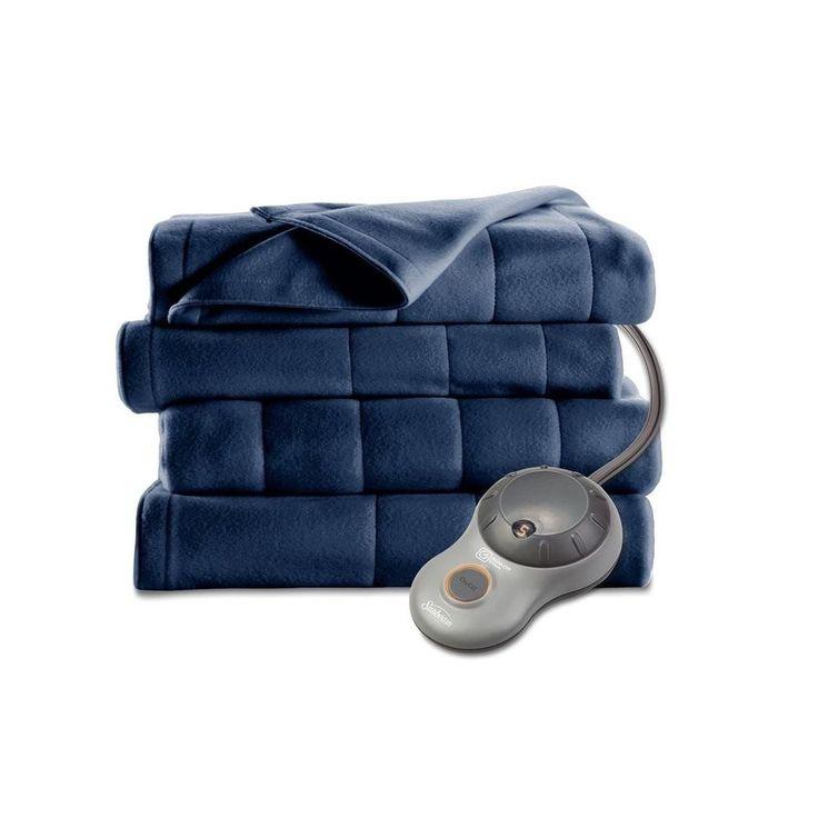 Sunbeam Electric Heated Quilted Fleece Blanket Queen Blue #Sunbeam