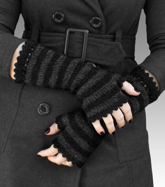 WITCHY BLACK long striped fingerless wool mittens - one size - free shipping. voclothingshop  via Etsy.