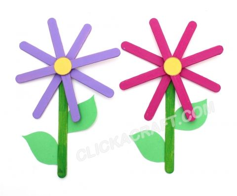Popsicle Stick Flowers (Decoration) Handmade Idea – Mothers Day Crafts for Kids