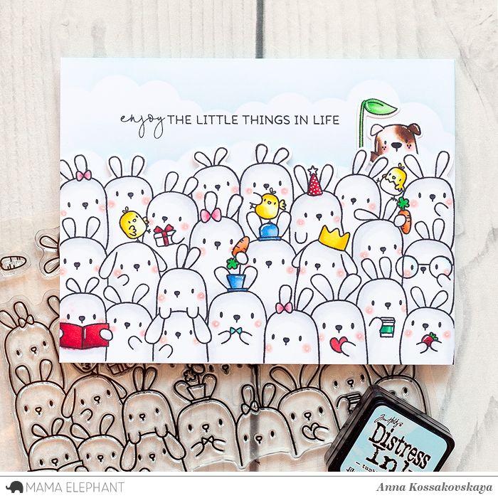 Mama Elephant Stamp Highlight: The Bunny's Hop @akossakovskaya @mamaelephant #cardmaking #mamaelephant