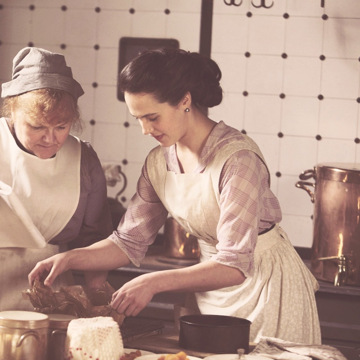 Sybil learning to cook  | More Downton Abbey photos here:  http://mylusciouslife.com/historical-style-downton-abbey-photos/