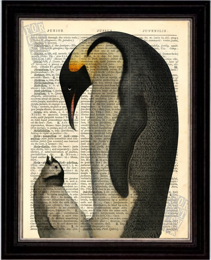 Emperor Penguin and Chick  Print on Upcycled 1896 Latin English Dictionary Page. $8.00, via Etsy.